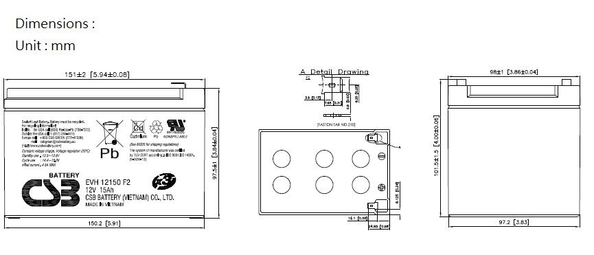 EVH12150-dimensiones