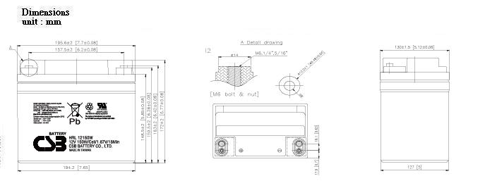 HRL12150W dimensiones