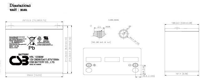 HRL12280W dimensiones