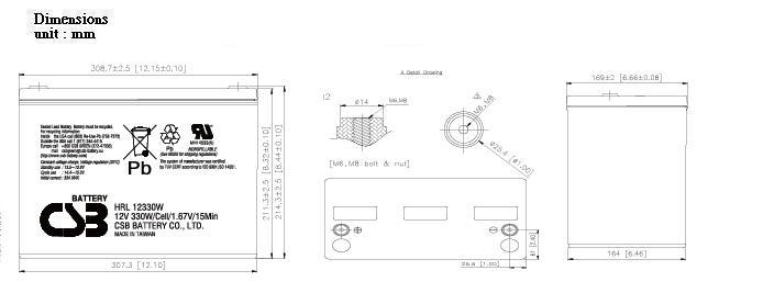 HRL12330W dimensiones