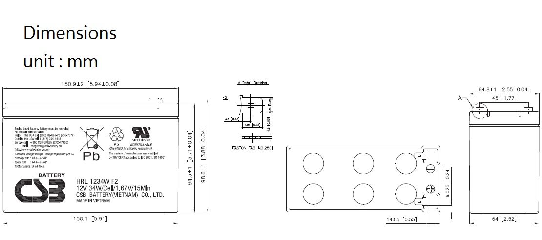 HRL1234W dimensiones