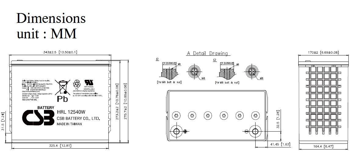 HRL12540W dimensiones