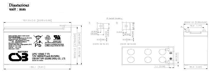 UPS123607 dimensiones