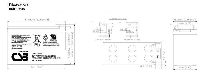 UPS12460 dimensiones