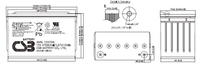 XHRL12475W dimensiones