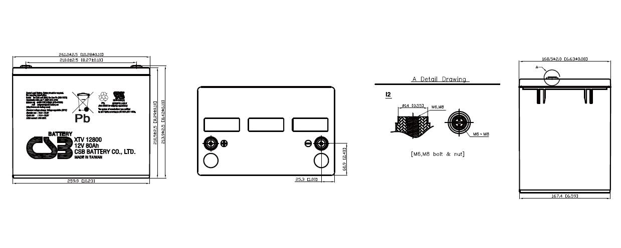 XTV12800 dimensiones
